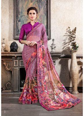 Light purple printed chiffon saree with blouse