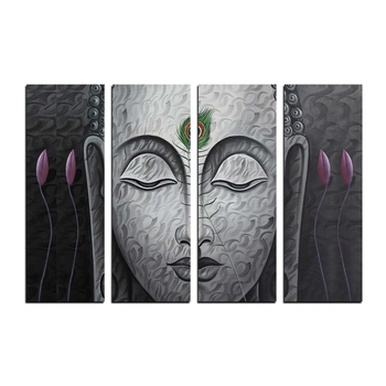 4 Panel Meditating Buddha Premium Canvas Painting