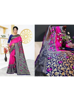 Rani pink woven art silk saree with blouse