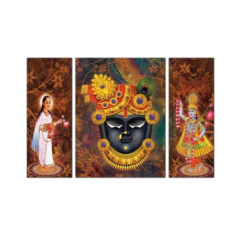 3 Panel Lord Shrinathji Premium Canvas Painting