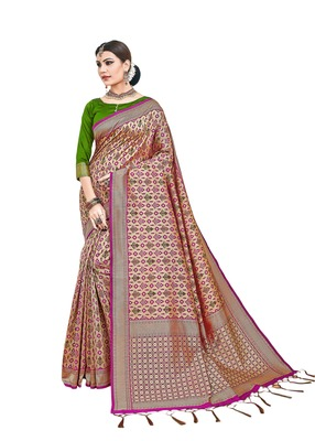 Rose woven silk saree with blouse