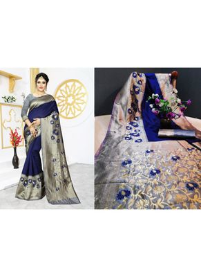 Royal blue woven art silk saree with blouse