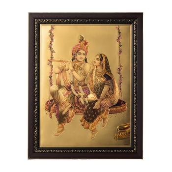 Radha Krishna on Swing Laminated Golden Foil