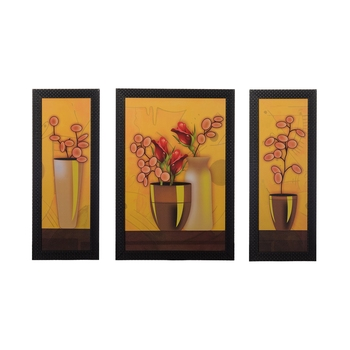 Set of 3 Floral Pots Satin Matt Texture UV Art Painting