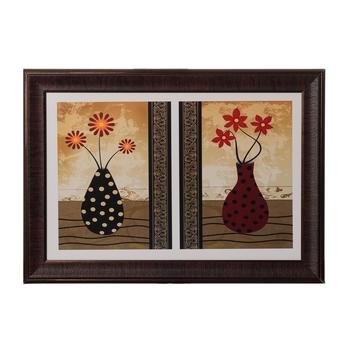 Set of 2 Floral Pots Satin Matt Texture UV Art Painting