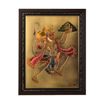Flying Hanuman Laminated Golden Foil
