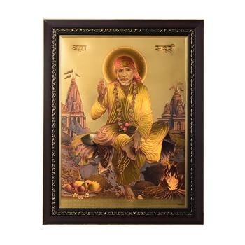 Sai Baba Laminated Golden Foil