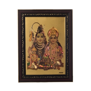 Shiva Parvati Laminated Golden Foil