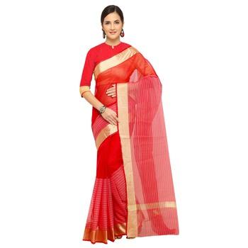Magenta plain cotton saree with blouse