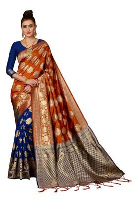 Rust woven banarasi saree with blouse