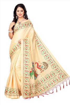 Cream printed faux khadi saree with blouse