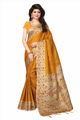 Mustard printed faux khadi saree with blouse