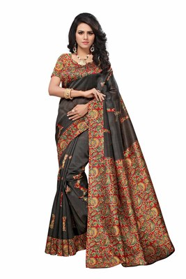 Black printed faux silk saree with blouse