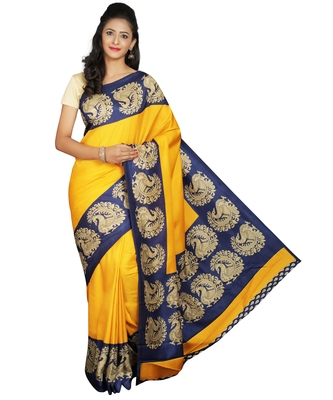 Yellow printed crepe saree with blouse