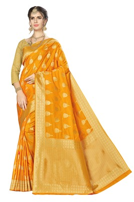 Light orange woven banarasi saree with blouse