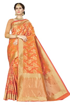 Orange woven banarasi saree with blouse