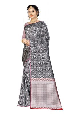 Black woven banarasi saree with blouse