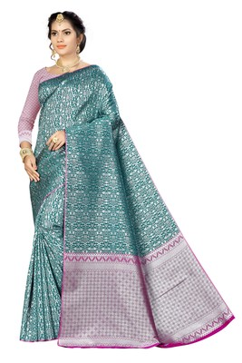 Dark green woven banarasi saree with blouse