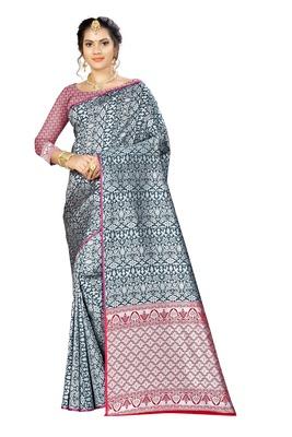 Dark green woven banarasi saree with blouse