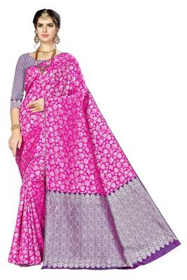 Magenta woven banarasi saree with blouse