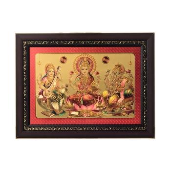 Laxmi Ganesh Saraswati Laminated Golden Foil