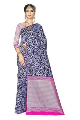Royal blue woven banarasi saree with blouse