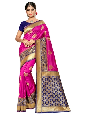 Pink woven banarasi saree with blouse