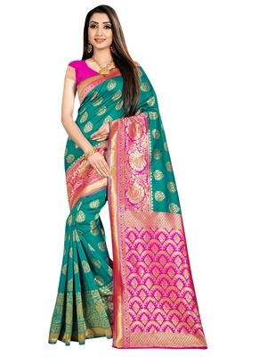 Green woven banarasi saree with blouse