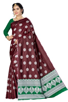 Maroon woven banarasi saree with blouse