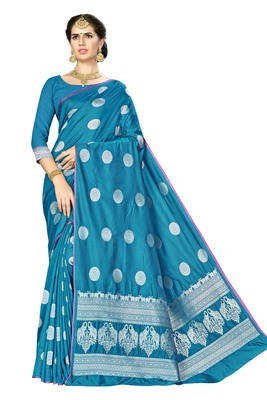 Blue woven banarasi saree with blouse
