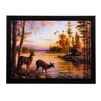 Deers Drinking Water Matt Textured UV Art Painting