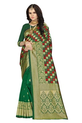 Multicolor woven banarasi saree with blouse