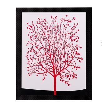 Abstract Red Tree Matt Textured UV Art Painting