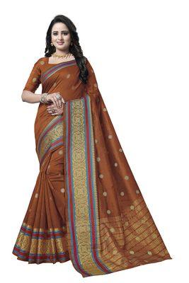 Brown woven banarasi saree with blouse