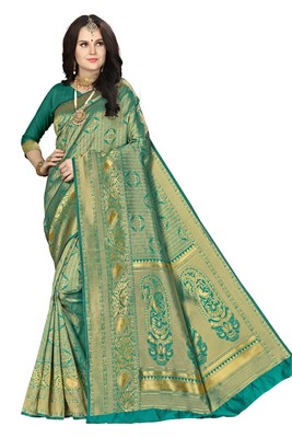 Green woven banarasi saree with blouse