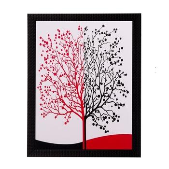 Abstract Black and Red Tree Matt Textured UV Art Painting