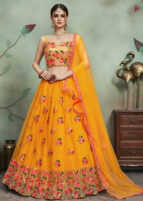 Mustard Thread Embroidered Net Semi Stitched Lehenga Choli With Dupatta