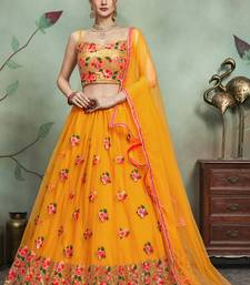 Mustard Thread Embroidered Net Semi Stitched Lehenga