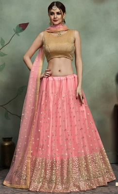 Baby-pink gota and Sequins Embroidered net unstitched lehenga choli with dupatta