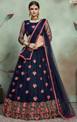 Navy-blue thread and Sequins Embroidered net unstitched lehenga choli with dupatta