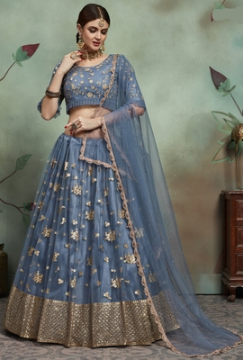 Grey Sequins Embroidered net unstitched lehenga choli with dupatta