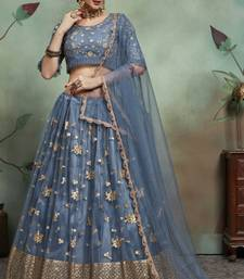 Grey Sequins Embroidered Net semi stitched Lehenga