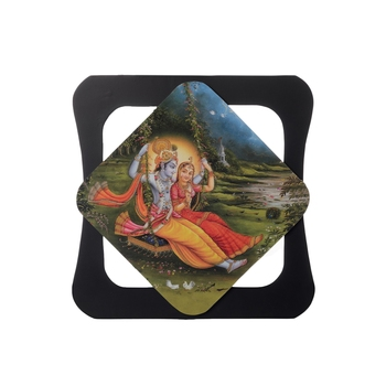 Radha Krishna Special Effect Sparkle Velvet Touch Reprint on MDF