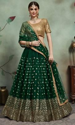 Dark-green Sequins Embroidered Net unstitched lehenga choli with dupatta