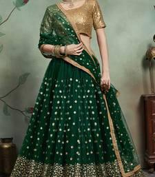 Dark-green Sequins Embroidered Net unstitched lehenga choli with dupatta
