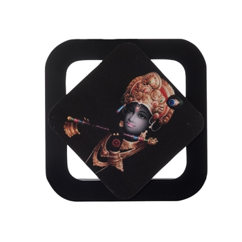 Krishna Playing Flute Special Effect Sparkle Velvet Touch Reprint on MDF