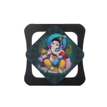 Lord Ganesha Playing Flute Special Effect Sparkle Velvet Touch Reprint on MDF