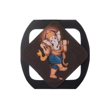 Dancing Lord Ganesha Special Effect Sparkle Velvet Touch Reprint on MDF