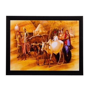 Bullock Cart Matt Textured UV Art Painting