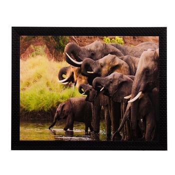 Group of Black Elephants Matt Textured UV Art Painting